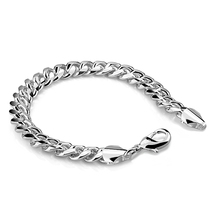 Genuine sterling silver men bracelet .100% solid 925 silver 7MM/10MM 20cm  bracelet. Wholesale fashion men silver jewelry gift