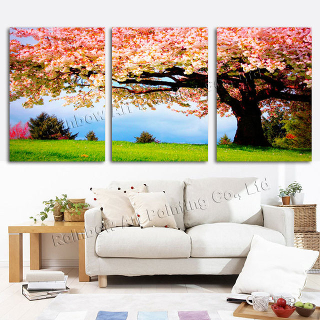 3 Piece Romantic Flower Canvas Painting Tree Oil Large Wall Art Pictures For Living Room