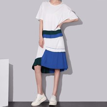 2017 Brand Summer Women Casual Midi Dress Short Sleeve Ruffles Pleated Blue Boho Hippie Girls Kawaii Sun Dresses Robe Femme 1452