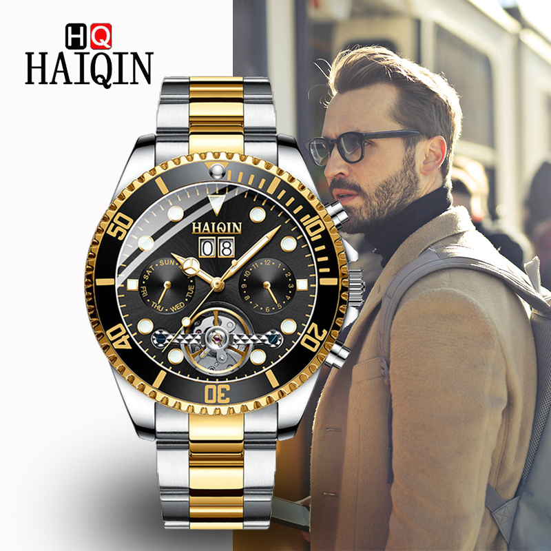 HAIQNI Mens Watches 2019 Top Luxury Golden Mechanical Watch Stainless Steel Sports Waterproof Automatic Clock Relogio MasculinoHAIQNI Mens Watches 2019 Top Luxury Golden Mechanical Watch Stainless Steel Sports Waterproof Automatic Clock Relogio Masculino