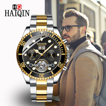HAIQNI Men's Watches 2019 Top Luxury Golden Mechanical Watch Stainless Steel Sports Waterproof Automatic Clock Relogio Masculino