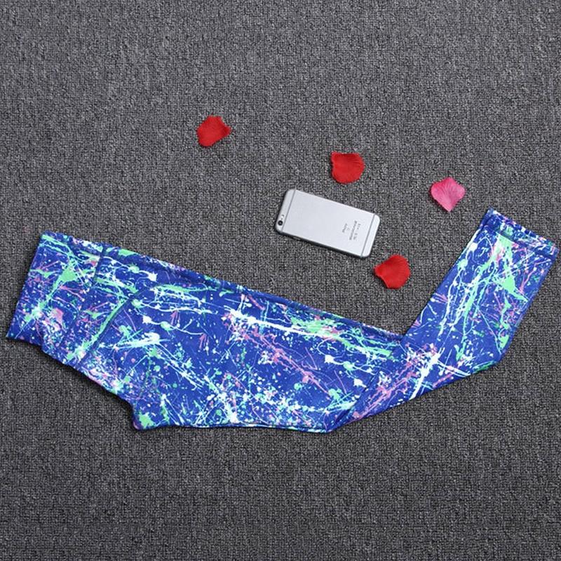 2018 женские штаны для йоги спортивные леггинсы для фитнеса спортивные штаны капри эластичные колготки печатные брюки бег тренировки тренажерный зал спортивные штаны