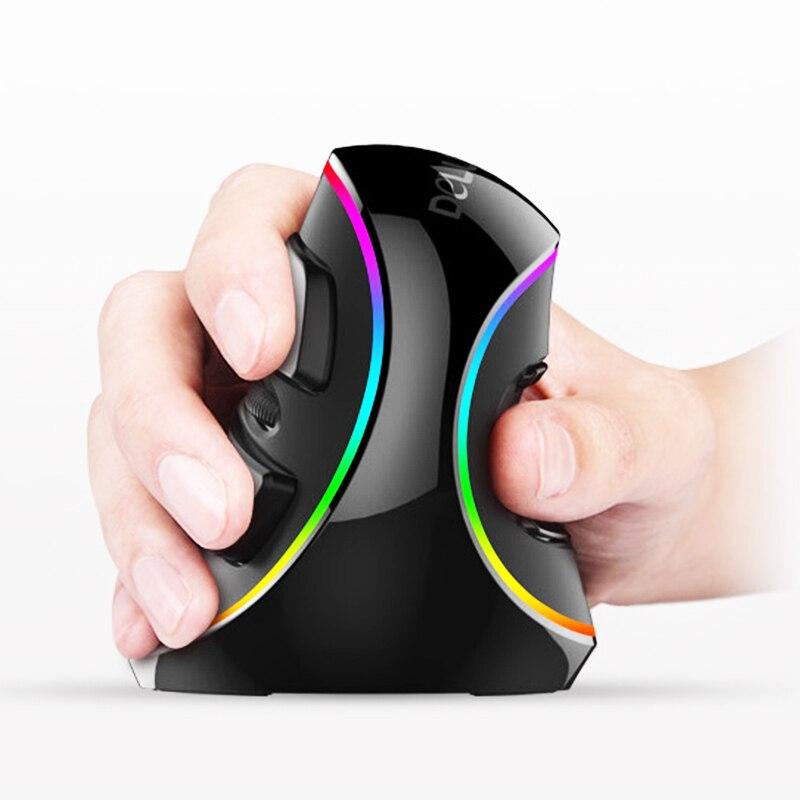New Delux M618 Plus 3D Wireless Gaming Vertical Mouse Rechargable RGB Professional Ergonomics Mice Computer Mouse for Desktop
