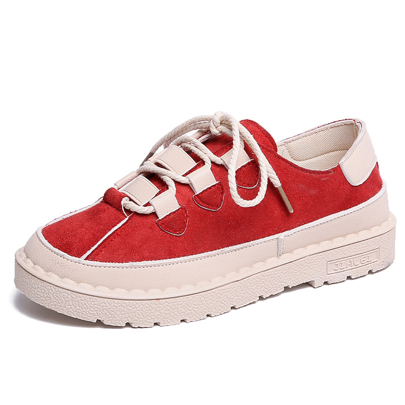 2019 Spring Women Flats Female   Leather     Suede   Platform Sneakers Shoes Women Lace Up Casual Flat Creepers Moccasins Shoes