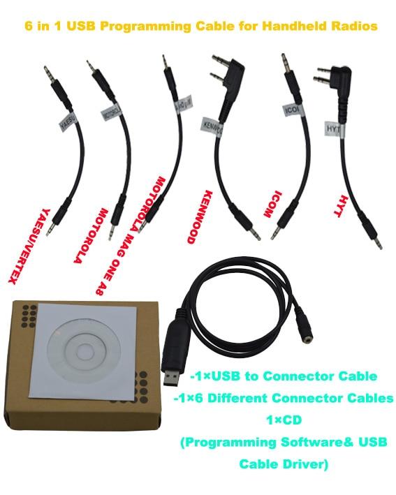 6 In 1 USB Programming Cable For Handheld Two Way Radios Kenwood Motorola HYT ICOM YAESU VERTEX WOUXUN BAOFENG QUANSHENG TYT