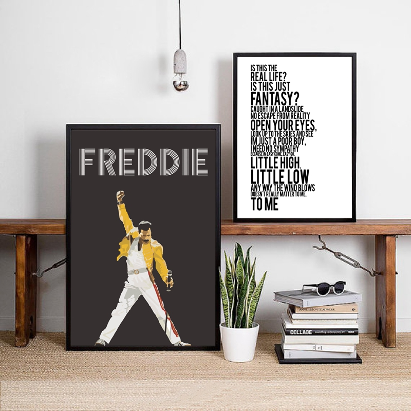 Queen Band Freddie Mercury Posters Print Bohemian Rhapsody Canvas Painting Art Pictures Hip Hop Wall Decoration