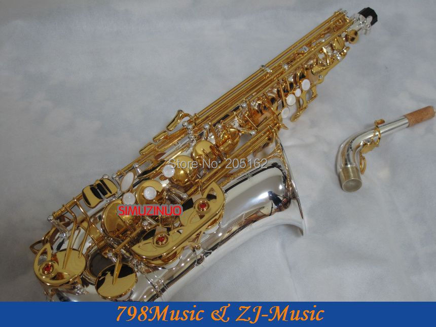 Professional Silver Plated Body and Gold Keys Eb Alto Saxophone Saxofon sax High F# With Case professional red antique alto saxophone sax high f engraving with case