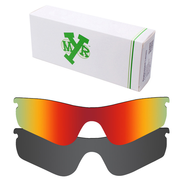2 Pieces MRY POLARIZED Replacement Lenses for Oakley RadarLock Path Sunglasses Stealth Black & Fire Red