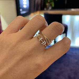 Image 5 - SLJELY אמיתי 925 סטרלינג כסף צהוב זהב צבע משולש מעגלי אצבע טבעת עם הזזה טבעות פייב זירקון נשים תכשיטי יוקרה