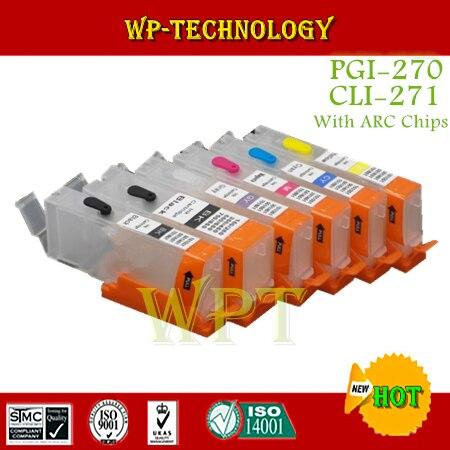 Combinaison de cartouche rechargeable vide 6PK pour PGI270 CLI271, costume pour MG5720 MG5721 MG5722 MG6820 MG6821 MG6822 MG7720, avec puce ARC