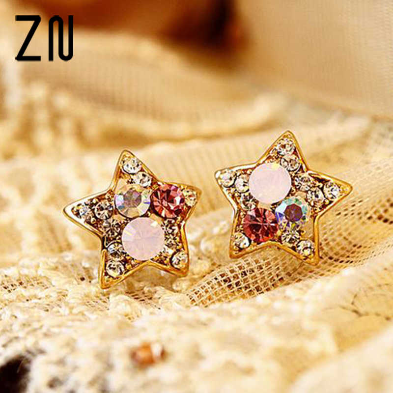 ZN Fashion Full Rhinestone Five-pointed Star Shaped Colorful Crystal Stud Earrings for Women Jewelry