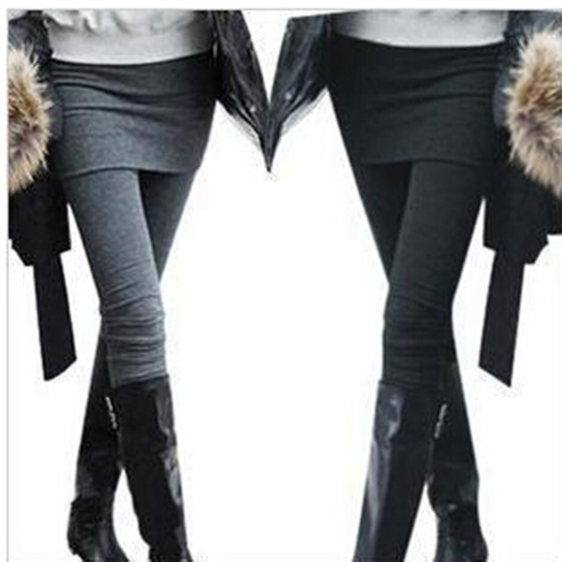 One Piece Women Skirt Leggings Autumn Fashion Solid Footless Legging Skirt With Pants Skinny ...