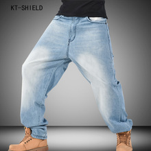 Men Hip-Hop Jeans Mens Long Fashion Skateboard Baggy Relaxed Denim Casual Men street Pants washing mill white biker jeans 30-46