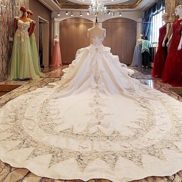Backlake מדהים שנהב כלה שמלת 3D פרחים ואגלי שרוולים כדור שמלת תחרת שמלות כלה vestidos דה noivas תמונות אמיתיות