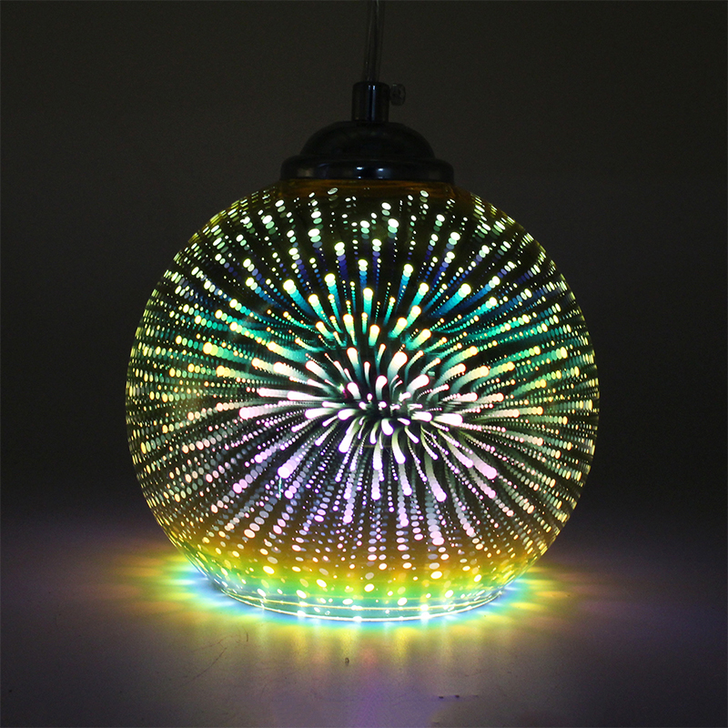 ZMISHIBO 3D LED Glass Pendant Lights Colorful Fireworks Gold Lampshade E27 Hanging Lamp Decoration Lighting Fixtures For Bedroom in Pendant Lights from Lights Lighting