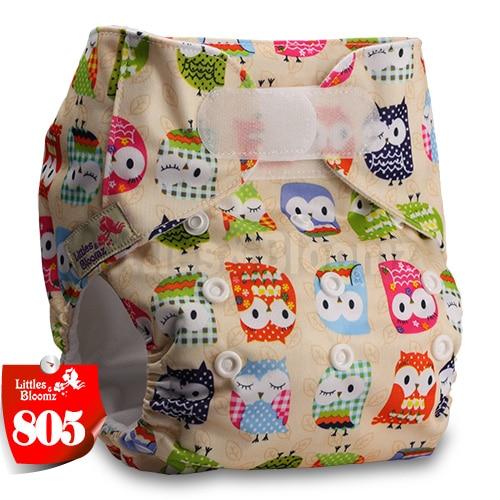 [Littles&Bloomz] Один размер многоразовые тканевые подгузники Моющиеся Водонепроницаемые Детские карманные подгузники стандартная застежка на липучке - Цвет: 805