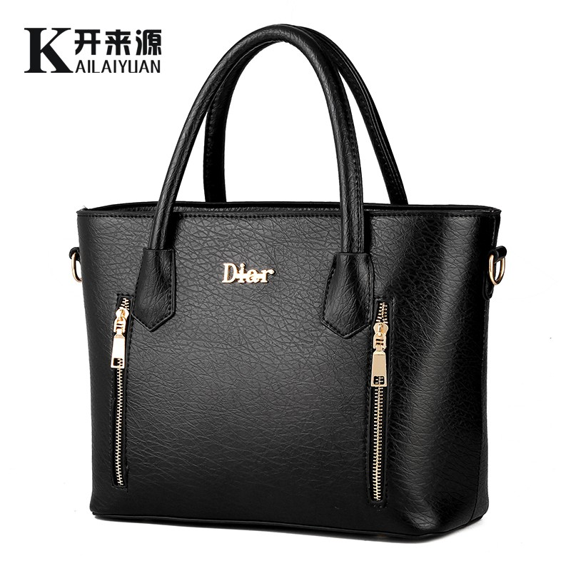 KLY 100% Genuine leather Women handbags 2017 New handbag patent leather stereoty