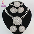 Vintage 3 unids Lion Head Collar Pulsera Pendientes Set Para Las Mujeres Rhinestone Del Cristal Plateado de Moda Conjunto de Joyas