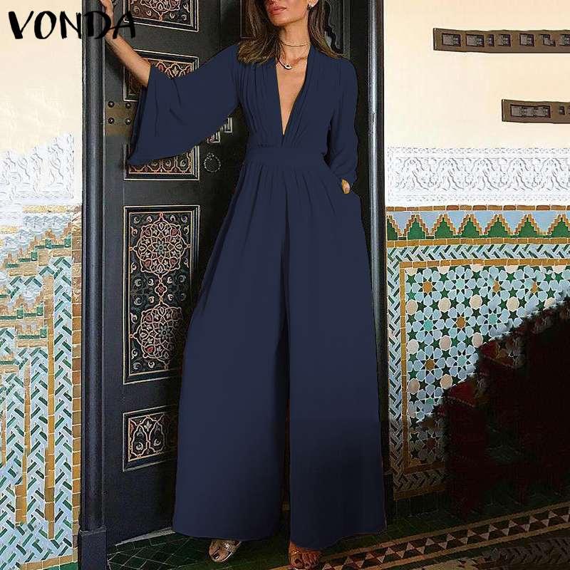 Plus Size Overalls Women Jumpsuits VONDA 2019 Summer Pants Fashion Long Sleeve Combinaison Femme Drawstring V Neck Solid   Rompers