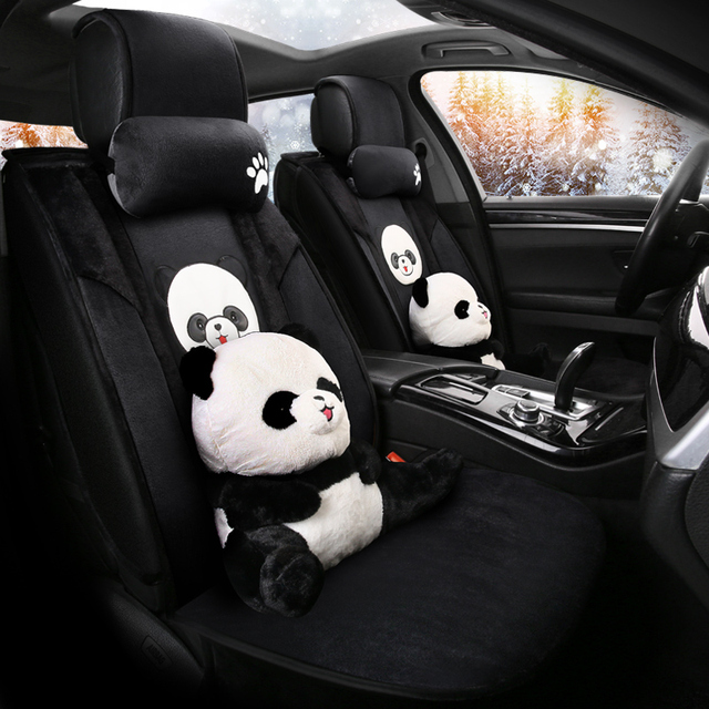 cartoon cute dog husky bear piggy universal car seat cover fur heated seats auto covers for cars heating accessories cushion set 3