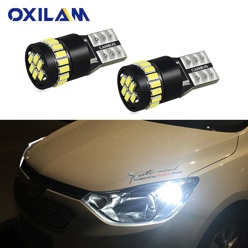 OXILAM 2x T10 <font><b>LED</b></font> Lamp W5W <font><b>LED</b></font> Canbus Parking Light for <font><b>Peugeot</b></font> 206 207 307 308 <font><b>407</b></font> 2008 3008 Auto Interior Lights White Yellow image