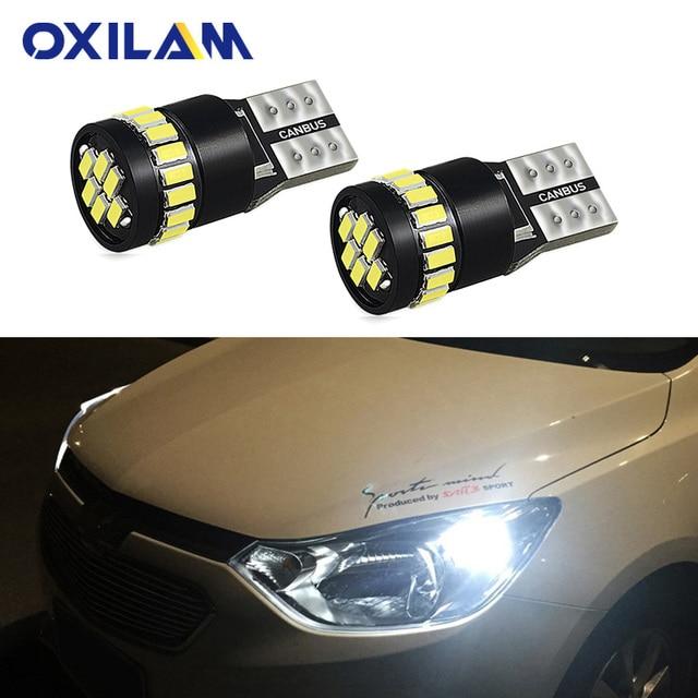 OXILAM 2x T10 lámpara LED W5W LED Canbus luz de estacionamiento para Peugeot 206, 207, 307, 308, 407, 2008, 3008 Auto luces interiores blanco amarillo