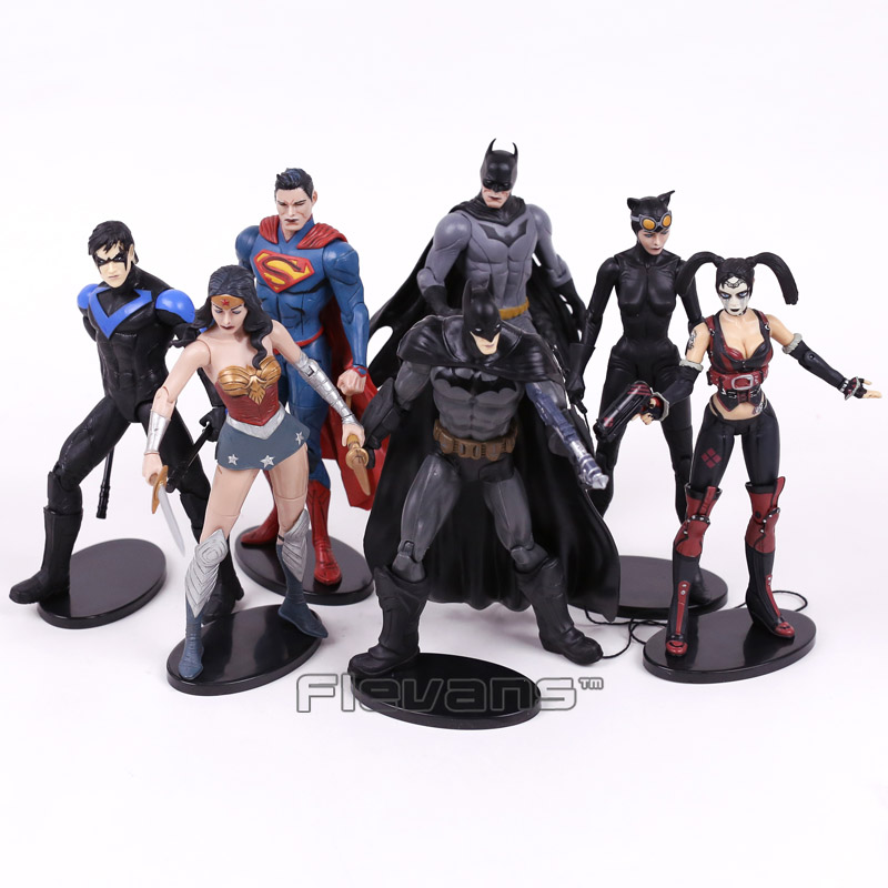 DC COMICS Injustice League Superman Batman Nightwing Wonder Woman Harley Quinn Catwoman PVC Action Figure Collectible Model Toy neca dc comics batman superman the joker pvc action figure collectible toy 7 18cm 3 styles