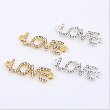 10pcs Silver/Gold Clear Rhinestone Love Letters Necklace Bracelet Connectors Clasps Charms Pendants for DIY Jewelry Making Z798