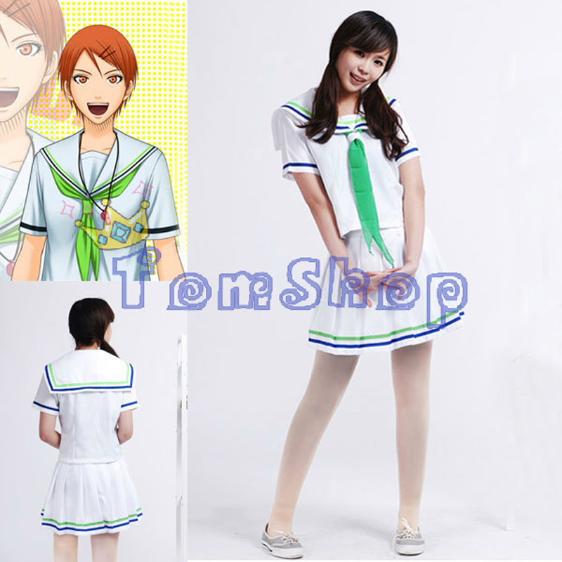 Anime Kuroko no Basuke Kuroko's Basketball SEIRIN High School Aida Riko White Cosplay Uniform Dress Women's Halloween Costumes