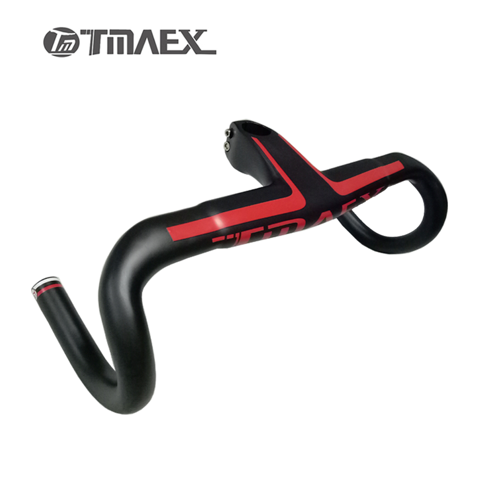 Newest TMAEX  Full Carbon Handlebar Road Bike Integrated Handlebar And Stem Racing Handle Bicycle Parts 400/420/440mm 2016 newest red road bike racing full carbon handlebar internal cable carbon bicycle handlebar 400 420 440mm free shipping