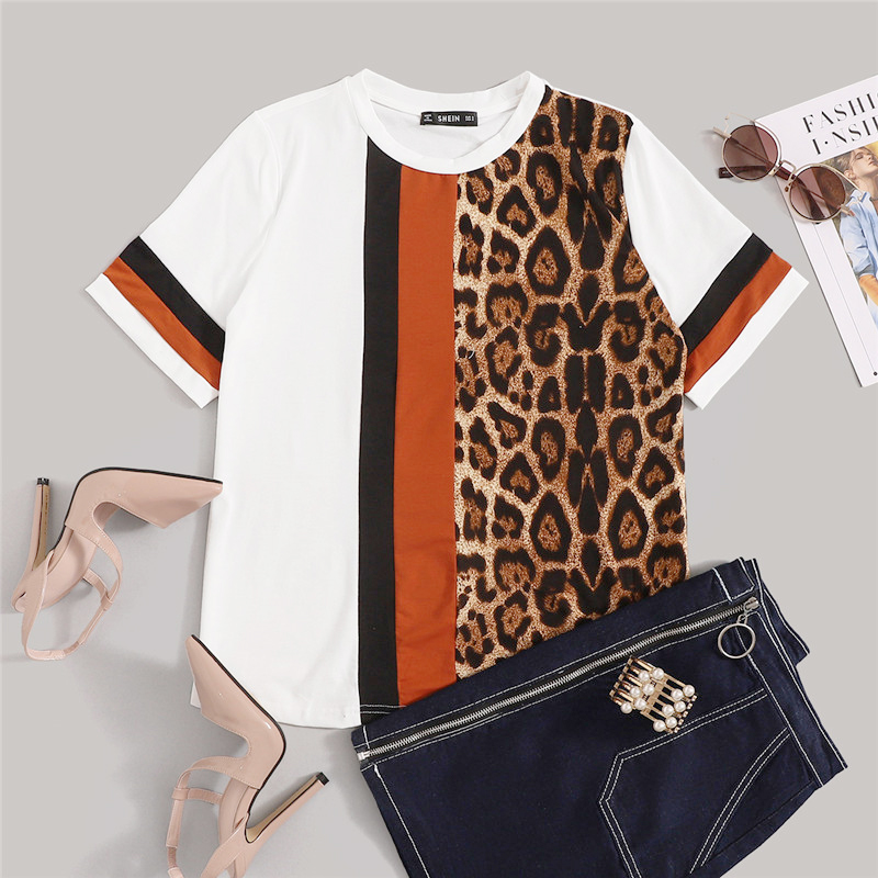 Block Cut-and-Sew Leopard Panel Top Short Sleeve O-Neck Casual T Shirt 32
