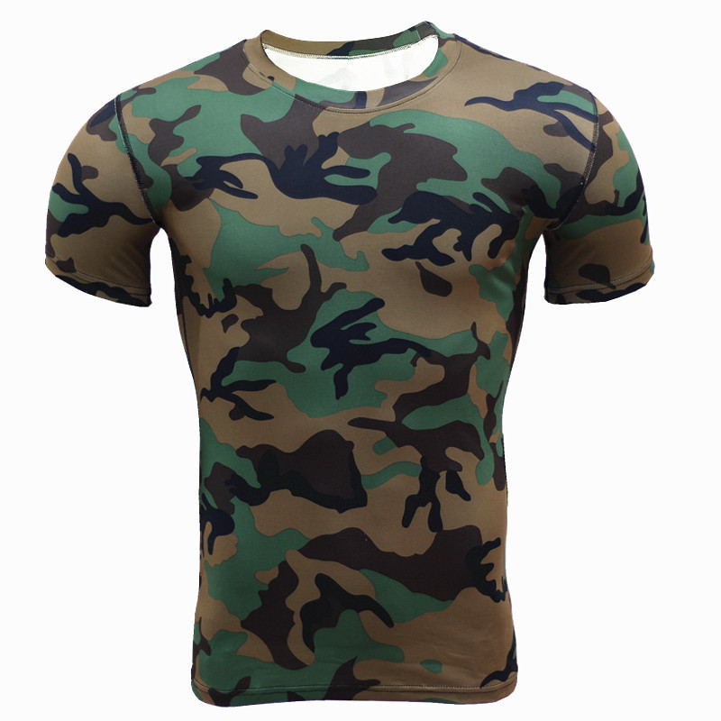새로운 도착 위장 군사 남성 티셔츠 휘트니스 스타킹 해골 셔츠 크로스 피트 운동 압축 탄성 남성 피트 니스 셔츠