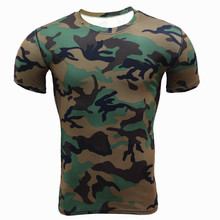 New Arrival Camouflage Military Men T-Shirts Fitness Tights Skull Shirts Crossfit Workout Compression Elastic Male Fitness Shirt