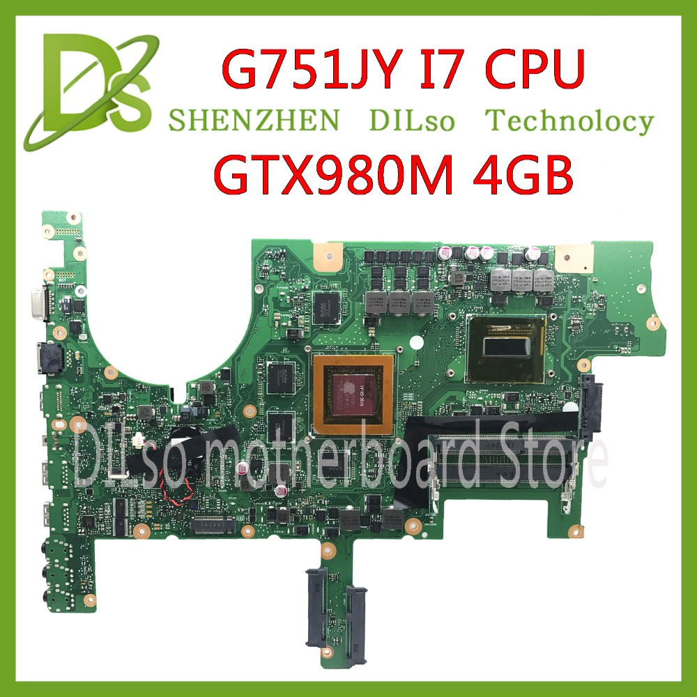KEFU G751 <font><b>motherboard</b></font> For ASUS G751J <font><b>G751JY</b></font> G751JT G751JM laptop mainboard with I7-4720/I7-4750 CPU GTX980M 4GB mainboard Test image