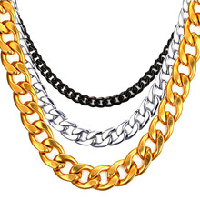 цена на Hiphop Stainless Steel 316L Black Gold Chain Necklace Men Women AAA Cuban Curb Link Hip Hop Masculine Male Choker Jewelry