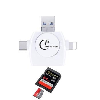 Ingelon micro SD Card Reader USB C White SDHC/SDXC Adapter MicroSD Type C RS MMC Reader for iphone ipad lighting SD Cardreader