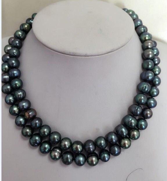 stunning 10-11mm baroque black green multicolor pearl necklace 925silverstunning 10-11mm baroque black green multicolor pearl necklace 925silver