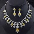 Rojo/verde/azul/blanco/amarillo de lujo AAA Cubic Zirconia de boda joyería nupcial conjunto para las mujeres, de alta calidad de la joyería para la novia