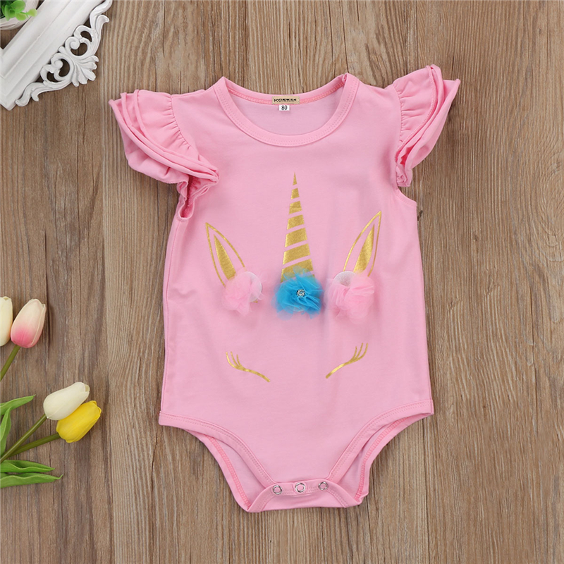 Newborn Baby Girls Clothes Fly Sleeve Unicorn Floral Romper Clothes