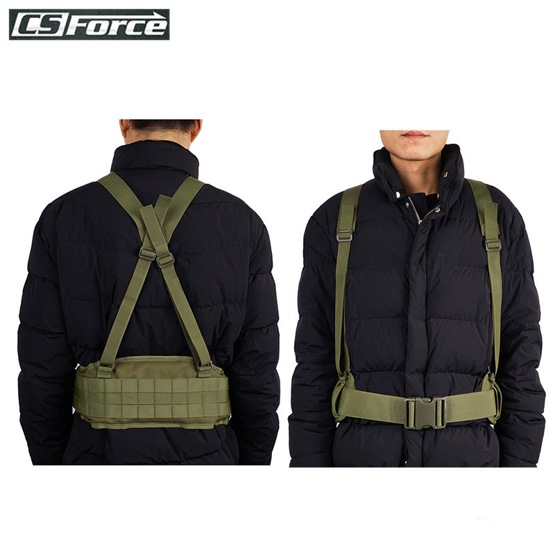 CS Force Airsoft Tactical Belt Molle with H-shaped Military Suspenders Adjustable Cummerbund Nylon Tactical Waist Padded Belt