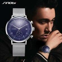 SINOBI Mens Watches Top Brand Luminous Luxury Simple Quartz Wrist Watch Slim Milan Man Sports Waterproof Clock Relogio Masculino