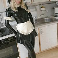 Maid Latex Kostüme Latex Gummi Uniform Rock & Schürze & Leggings & Handschuhe