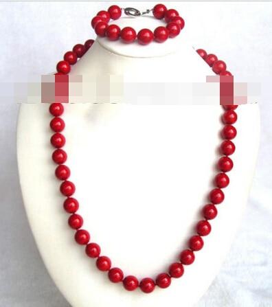 07795 rouge ronde coquillage perles collier un ensemble