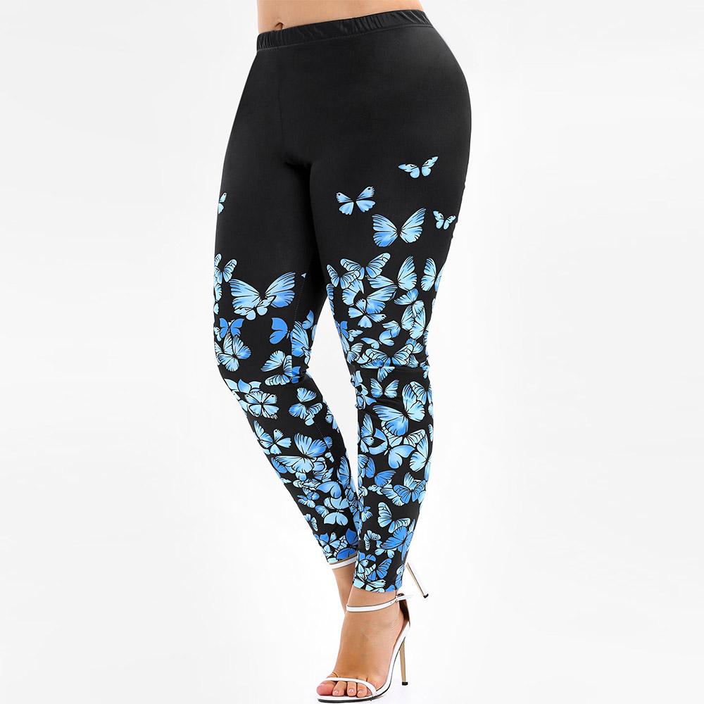 Rosegal Plus Size 3D Butterfly Print   Leggings   High Waist Skinny Casual Long Pants Sexy Women Bottom Big Size   Leggings   5XL 2019
