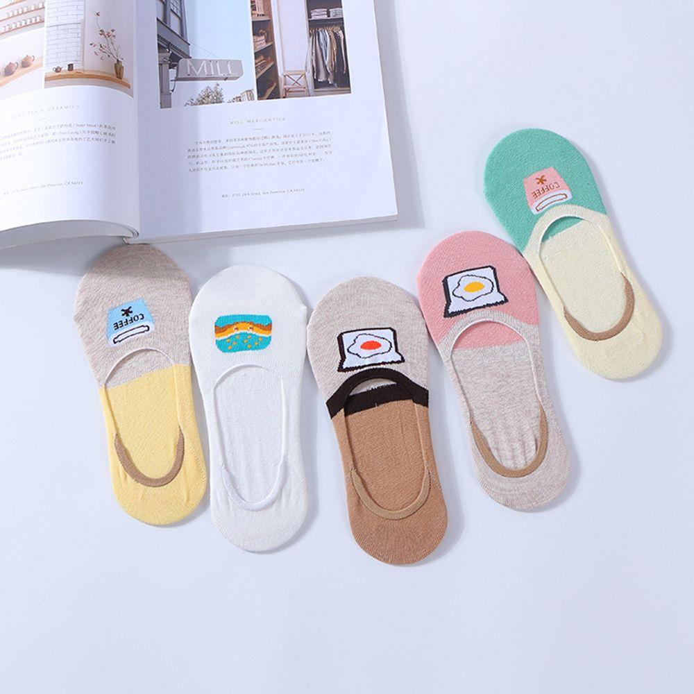 1 Paar Cartoon Weiblichen Unsichtbaren Baumwolle Casual Socken Hausschuhe Ei Hamburger Socken Wir Nehmen Kunden Als Unsere GöTter