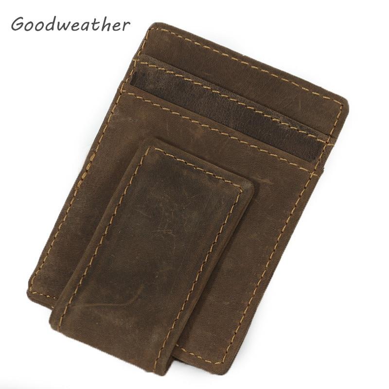 Luxury Slim Cardholder Men Purse Male Crazy Horse Vintage Brown Genuine Leather Small Business Credit Card Holder kartvizitlik