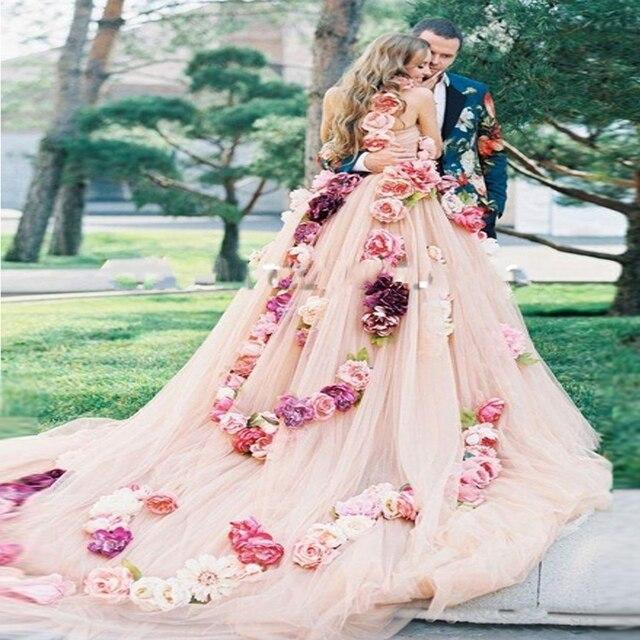 Elegant A Line Floral Princess Cloud Wedding Dresses 2017 Vestido de noiva Sleeveless Sexy Flower Long Train Mariage Bridal Gown