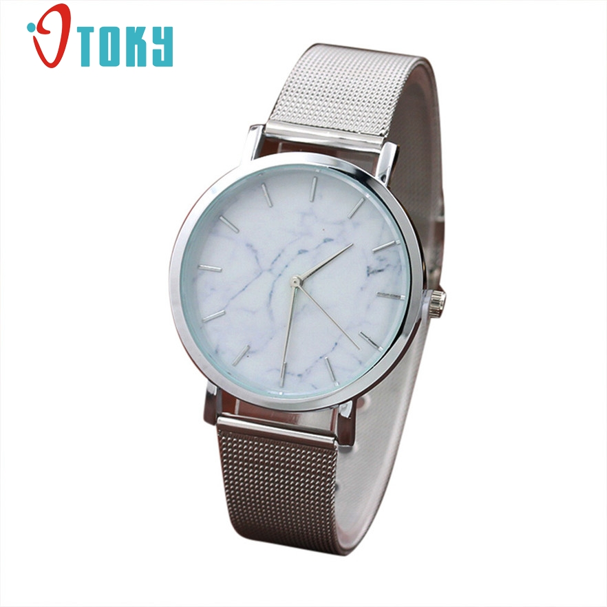 OTOKY Fashion Women Marble Surface Stainless Steel Band Quartz Movement Wrist Watch Relogio Feminino 2017 #20 Gift 1pc купить