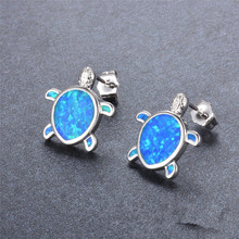 Fashion Lovely silver color Blue Opal Tiny Turtle Stud Earrings For Women Girl Chidren Kids 925 Wedd
