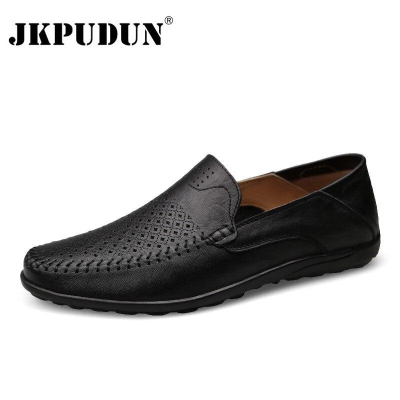 JKPUDUN italianos zapatos para hombre Casual de lujo marca verano mocasines de cuero genuino mocasines cómodos transpirables Slip On Boat zapatos